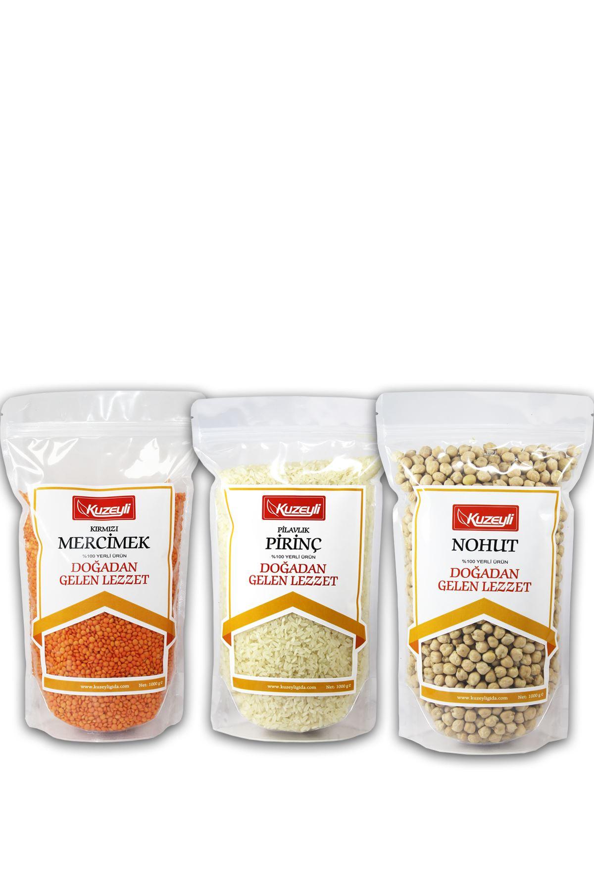 Muhteşem 3'lü 2 - 1 kg Pirinç (yerli)  1 kg Nohut (yerli) 1 kg Kırmızı Mercimek (yerli)
