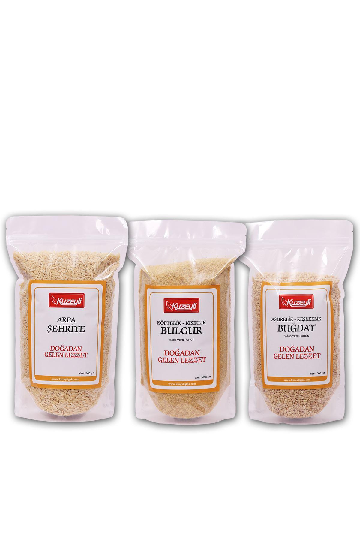 Yardımcı Set - Arpa Şehriye 1 kg - Buğday Aşurelik -Keşkeklik 1 kg  -Köftelik bulgur 1 kg